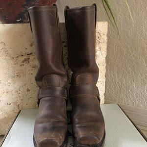 Frye Harness 12R in brown rugged leather